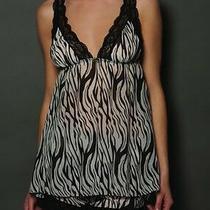 56 Blush Lingerie Zebra Sleepwear Camisole Top Chiffon Leopard Bow ( S )  Photo