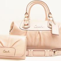 563 Coach Ashley Handbag Wallet Powder Pink Leather Shoulder Tote Clutch Dusty Photo