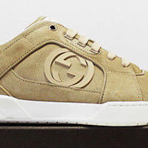 575 Italy Gucci Nappa Suede-Leather Gg Cream Low Top Sneakers 10-G 11-Us Photo