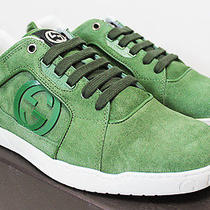 575 Italy Gucci Suede-Leather Interlocked-Gg Green Low Top Sneakers 9-G 10-Us Photo