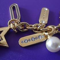 58 Nwt Coach Star Lozenge Rhinestone & Pearl Key Ring Chain 62568   Photo