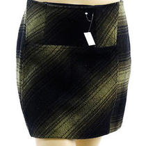58 Nwt Kensie Green Plaid Wool Mini Skirt - 10 Photo