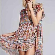 5884 New Free People Fp One Empire Extreme Printed Kimono Shirt Tunic Dress S 6 Photo