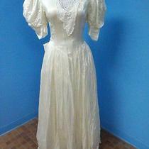 59122 Jessica Mcclintock - Beautiful Ivory Satin Wedding Dress Sz 12 Vintage Photo
