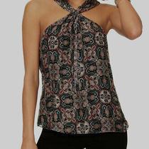 594 Ramy Brook Women Black Blue Halter Neck Sleeveless Casual Blouse Top Size S Photo