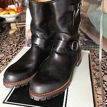 598 Frye Mens Addison Lug Engineer Leather Work Boots Black Us 8.5 Photo