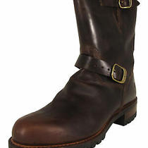 598 Frye Mens Addison Lug Engineer Leather Work Boots Dark Brown Us 8 Photo