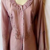 598 Nwot New Yigal Azrouel 8 10 L Top Shirt Lavender Purple Embroidered Sheer Photo