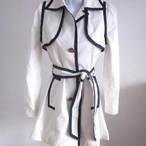 598 Smythe Taped Trench in White With Navy- Sz 2 Photo
