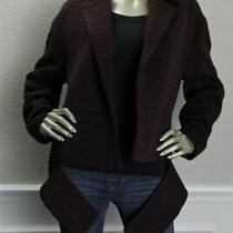 5990 New Akris Aubergine Maroon Embroidered Textured Coat Gene Jacket 8 38 Photo