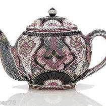 5995 New Box  Judith Leiber Swarovski Crystals Teapot Minaudiere  Bag Clutch Photo