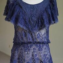 5th Culture - Size M - Exc. - Purple Lace Tunic - Lace Knit Top Photo