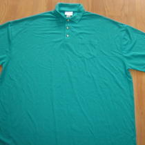 5xl Aqua Green Buttondown W Pocket Shirt Polo Century Place 100% Polyester New   Photo