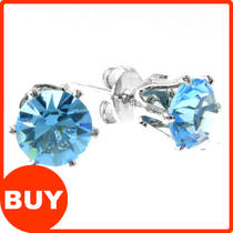 6-10mm - 10 Colours - Mens Lady Cs Round Earrings Ear Studs Sterling Silver  Photo