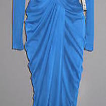 6 Adrianna Papell Lapis Blue Draped Twist Front Necklace Mesh Gown Nwt 170 Photo