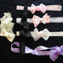 6 Baby Girls Headbands Hair Bows Accessories Fancy White Pink Newborn -12 Months Photo