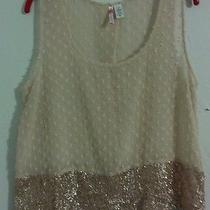 6 Degrees Size Xl Soft Pink Blush Sheer Sequin Shirt Top Blouse Open Slit Back Photo