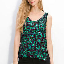 6 Diane Von Furstenberg Silk Desta Embellished Tank 298 M Green Sequins Nwot  Photo