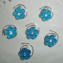 6 Hair Swirls in Dazzling Bright Aqua Flowers Perfect for Prom or Bridesmaids Photo