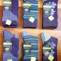6 Pair Dickies Women's  Merino Wool Blend  Crew Socks  Purple Variety Pack Photo
