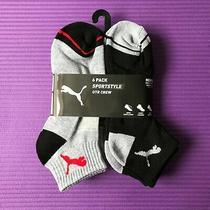 6 Pairs Puma Mens Sportstyle Quarter Crew Sock Black Gray Shoe Size 6-12 Perform Photo