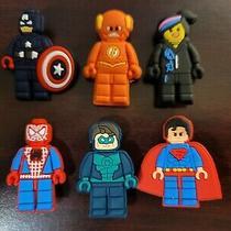6 Pc Lot Dc / Marvel Lego Superheroes  Comics Shoe Croc Charms Bracelet Jibbitz Photo