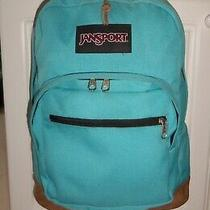 60 Jansports Right Pack Backpack Typ7 Signature Suede Leather Bottom Turquoise Photo