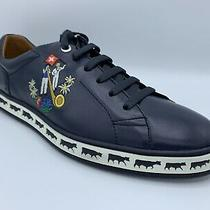 600 Bally Animals Navy Blue Leather Sneakers Size Us 10 Made in Switzerland Photo