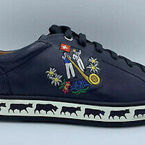 600 Bally Animals Navy Blue Leather Sneakers Size Us 11 Made in Switzerland Photo