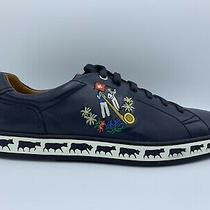 600 Bally Animals Navy Blue Leather Sneakers Size Us 12 Made in Switzerland Photo