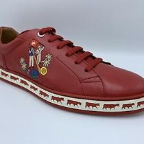 600 Bally Animals Red Leather Sneakers Size Us 10 Made in Switzerland Photo