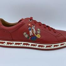 600 Bally Animals Red Leather Sneakers Size Us 9.5 Made in Switzerland Photo