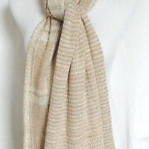 60s Christian Dior Scarf Muffler Stole Wool Knit Ivory Tan 66x16