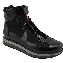 615 Prada Black Leather Vernice Bike Ankle Boots Sneakers Men Shoes Eu 43  Us 9 Photo