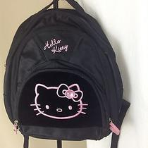 6150y Hello Kitty Black and Pink Book Bag Backpack Embroidered Kitty Photo
