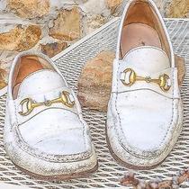 640 Gucci Grunge Sz Us 9d White Leather Loafers Gold Horsebit Men Rare Vtg Photo