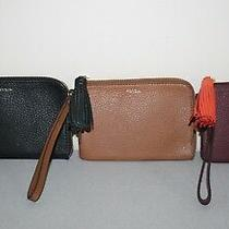 65 Nwt Fossil Tara Pebbled Leather Wristlet Zip Close 3 Colors to Choose Gift Photo