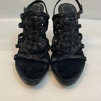 650.00 Christian Dior Black Leather Heel Sandals Size 35.5 Photo