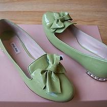 650 Miu Miu by Prada Shoes Flats Bow Patent Crystal Rhinestone Sz 40 Us 10 Nib Photo