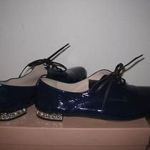 650 Miu Miu Prada Navy Blue Patent Leather Jeweled Heel Oxford  Shoes Size 85 Photo