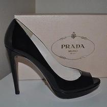 650 Prada Black Patent Peep Toe Platform Pump Heel Shoes Sz 37.5 / 7.5 Photo