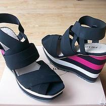 650 Prada Shoes Elastic Stripe Sandals Wedge Platform Black 40.5 Us 10.5 10 Nib Photo