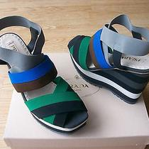 650 Prada Shoes Elastic Stripe Sandals Wedge Platform Sz 39.5 Us 9.5 Nib Photo