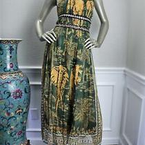 6600 New Valentino Green Yellow Elephant Print Lambskin Pleated Halter Dress 8 Photo