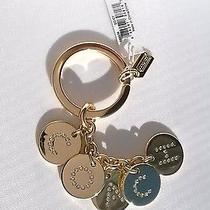 68. Coach Gold Logo Key Ring Key Chain Crystal Paved Charms F69939 Nwt Photo