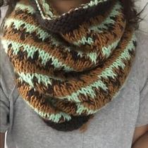 68 Free People Women Dreamland Chunky Knit Cowl Infiniti Scarf Hobo Green Brown Photo