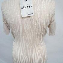 68 Women New Pieces Kensie Beige Knit Designer See Through Back Top Blouse L Photo