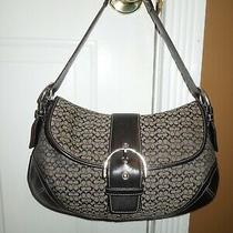 6808 Coach Large Soho Black Signature Fabric Leather Handbag Purse Shoulder Bag Photo