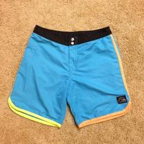 69 Quicksilver Board Shorts 30 Small Men's Blue Turquoise Aqua Yellow Trunks Photo