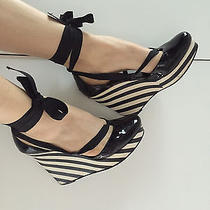 690 French High End Designer Celine Black Patent Striped Balerina Wedges 39 Us9 Photo